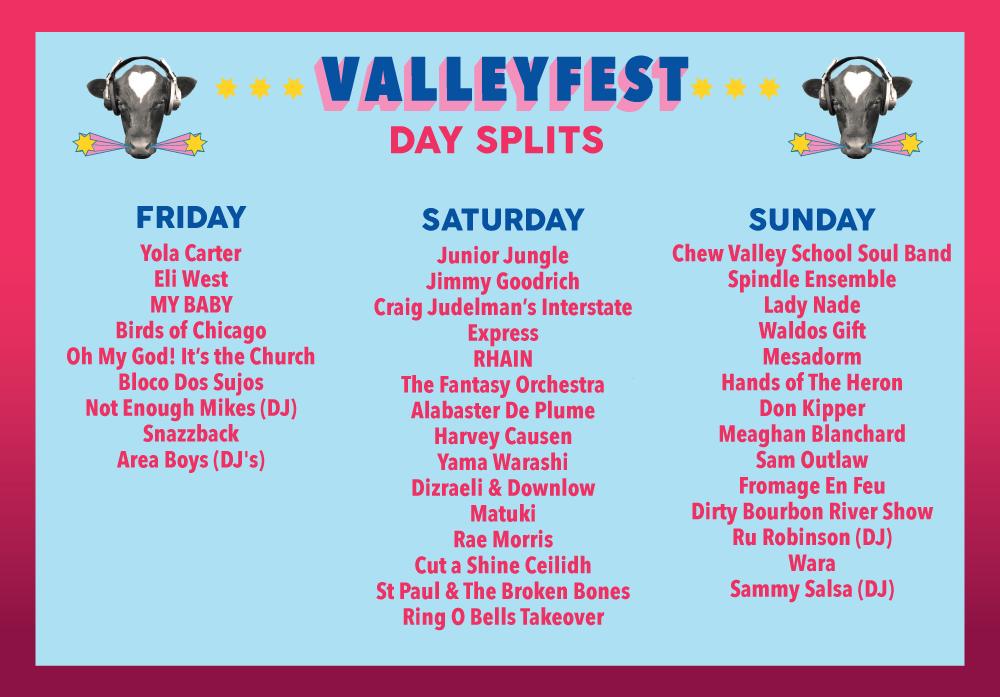 Day splits announced - Music & Food Festival - Valley Fest